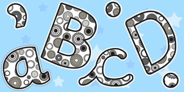 Cog Themed A4 Display Lettering - cog, display, lettering, letter