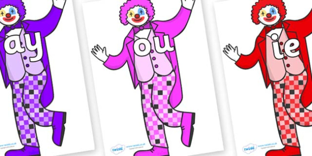 Phase 5 Phonemes on Clowns - Phonemes, phoneme, Phase 5, Phase five, Foundation, Literacy, Letters and Sounds, DfES, display
