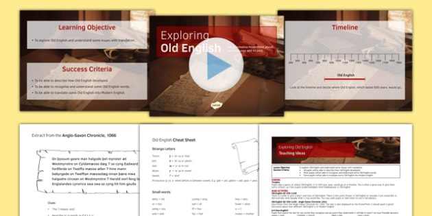Exploring Old English Lesson Pack - exploring, old english, lesson, pack