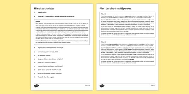 Les choristes fiche de lecture cinématographique Les Choristes Film Reading Comprehension - french, reading, comprehension, language, les choristes, film