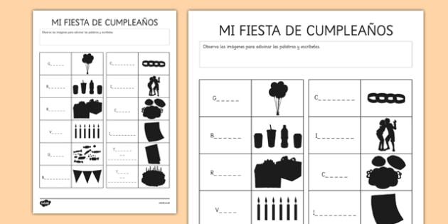 Ficha Identifica las siluetas de los objetos de la fiesta de cumpleaños - fiesta, cumpleaños, vocabulario, sombras