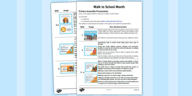 Walk to School Month Assembly - healthy, walking, week, presentation, assembly, KS1, KS2, information