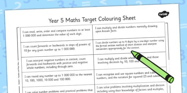2014 Curriculum Year 5 Maths Target Colouring Sheet - numeracy