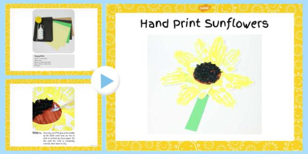 Hand Print Sunflowers Craft PowerPoint - flower, instructions