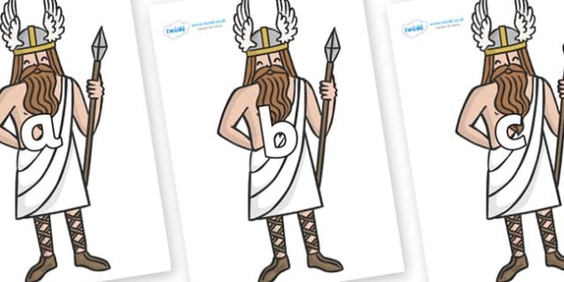 Phase 2 Phonemes on Viking Gods - Phonemes, phoneme, Phase 2, Phase two, Foundation, Literacy, Letters and Sounds, DfES, display