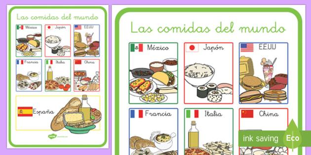 Póster DIN A2: Las comidas del mundo - otras culturas, comer, bien, saludable, sano, dieta, alimentación