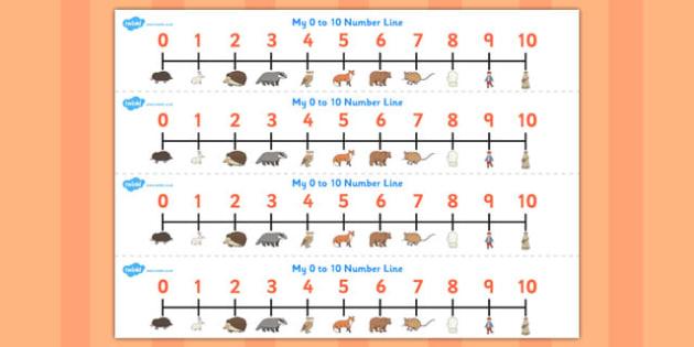 The Mitten Number Lines 0-10 - the mitten, number lines, 0-10