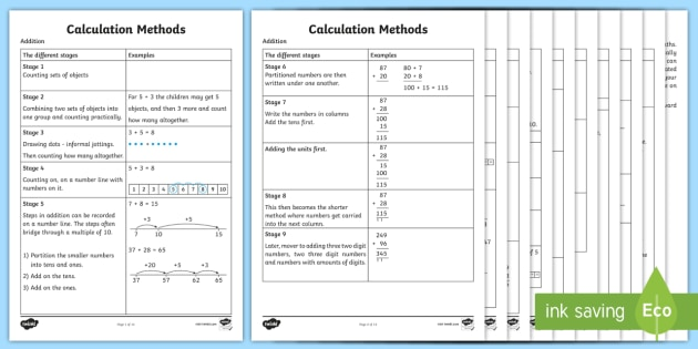 Calculation Methods Year 1 Through To Year 6 - Calculation methods, different stages, calculation, calculating, method, different, counting, numberline, multiply, division, year, year 1, year 6, all years