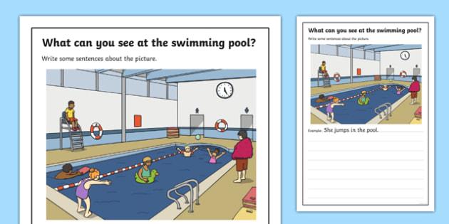 Swimming Pool Scene Writing Stimulus Picture