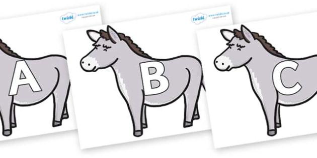 A-Z Alphabet on Donkeys - A-Z, A4, display, Alphabet frieze, Display letters, Letter posters, A-Z letters, Alphabet flashcards
