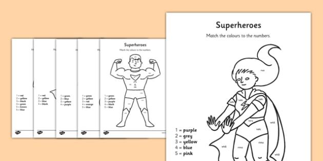 Superheroes Colour by Number Te Reo Māori - te reo māori, new zealand, nz, superheroes, colour by number
