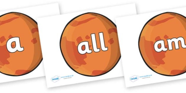 Foundation Stage 2 Keywords on Mars - FS2, CLL, keywords, Communication language and literacy,  Display, Key words, high frequency words, foundation stage literacy, DfES Letters and Sounds, Letters and Sounds, spelling