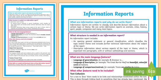 What is an Information Report? A4 Display Poster - Literacy, What is an Information Report?  A4 Display Poster, information report poster, display, eng