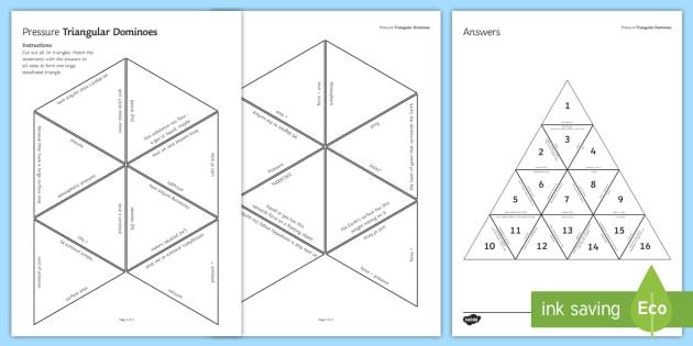 Pressure Tarsia Triangular Dominoes - Tarsia, Dominoes, Pressure, Fluid, Pascal, Atmosphere, Area, Force, plenary activity