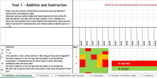 Year 1 Term 2 Maths Assessment Tracker Spreadsheet - year 1, term 2, maths, assessment, assess, tracker, track, spreadsheet