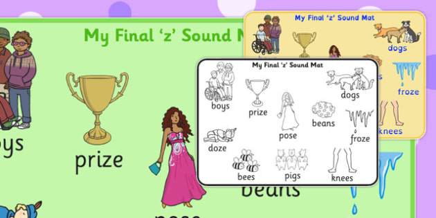Final 'Z' Sound Word Mat 2 - final z, sound, word mat, word, mat