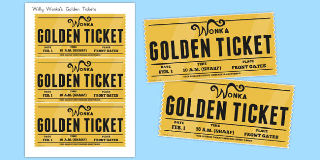 Golden Tickets to Support Teaching on Charlie and the Chocolate Factory - australia