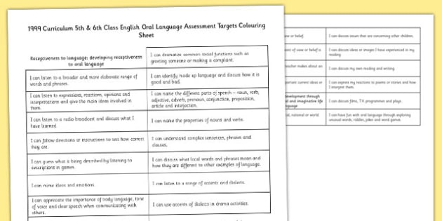 1999 Curriculum 5th and 6th Class English Oral Language Assessment Targets Colouring Sheet - colouring, targets, assessment, ROI, Irish, Ireland