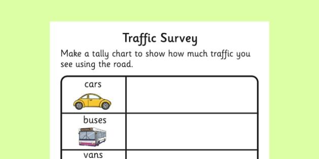 Traffic Survey Activity Sheet - traffic survey, survey, how much traffic, car, bus, van, worksheet, sheet, lorries, motorbike, bicycle