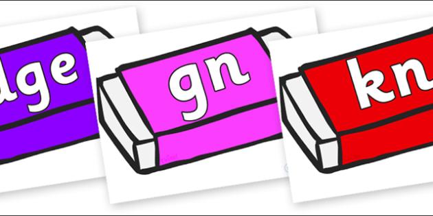 Silent Letters on Erasers - Silent Letters, silent letter, letter blend, consonant, consonants, digraph, trigraph, A-Z letters, literacy, alphabet, letters, alternative sounds