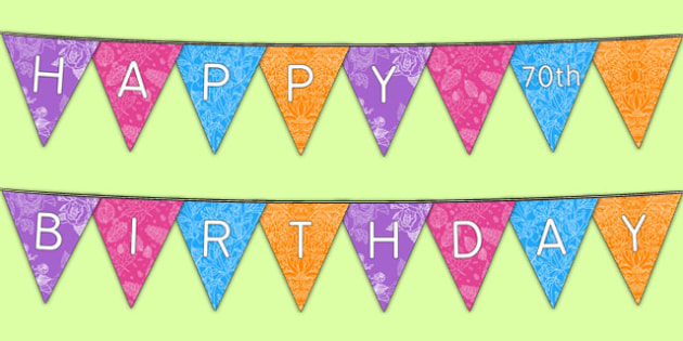 Happy 70th Birthday Bunting - 70th birthday party, 70th birthday, birthday party, bunting