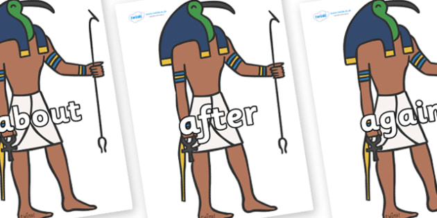 KS1 Keywords on Egyptian Gods - KS1, CLL, Communication language and literacy, Display, Key words, high frequency words, foundation stage literacy, DfES Letters and Sounds, Letters and Sounds, spelling