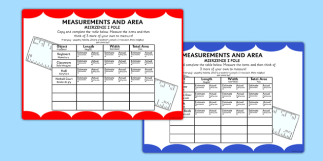 Measurements and Area Table Maths Challenge Cards Polish Translation - polish, measure, math