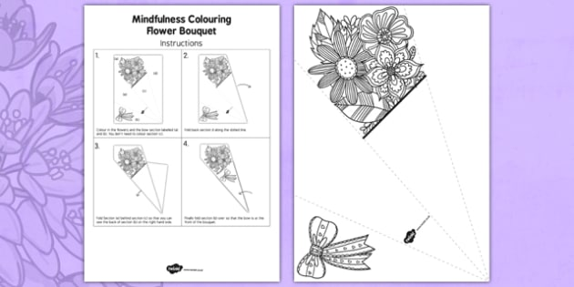 Mindfulness Colouring Flower Bouquet - calm, stress relief, art, decoration, adult, colours, pattern
