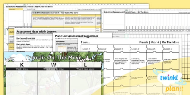 French: On the Move Year 4 Unit Assessment Pack
