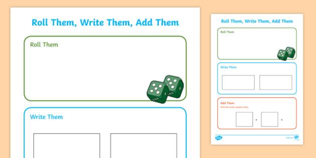 Roll them, Write them, Add them Activity Sheet