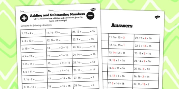 Number Facts to 16 Worksheet Teens Add One Digit - facts, maths