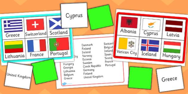Europe Flags Bingo - europe, flags, bingo, activity, game, class