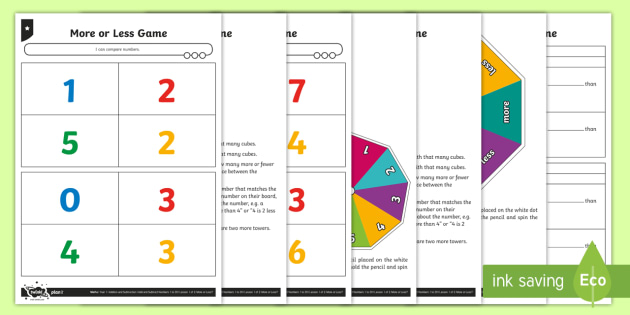 Comparing Numbers Game - Subtraction, how many more? how many less, difference between, describing, talking, working practica