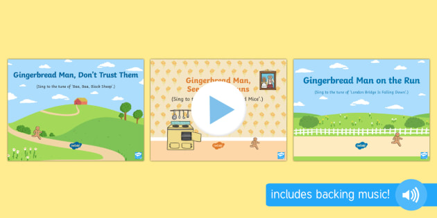 The Gingerbread Man Songs and Rhymes PowerPoints Pack - The Gingerbread Man, Traditional Tales, ginger, singing, song time, songs