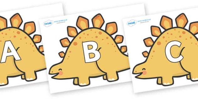 A-Z Alphabet on Stegosaurus Dinosaurs - A-Z, A4, display, Alphabet frieze, Display letters, Letter posters, A-Z letters, Alphabet flashcards