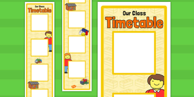 Building Brick Themed Vertical Visual Timetable Display - visual, timetable