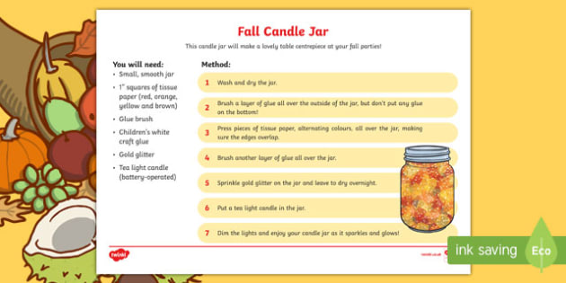 Fall Candle Jar Craft Instructions