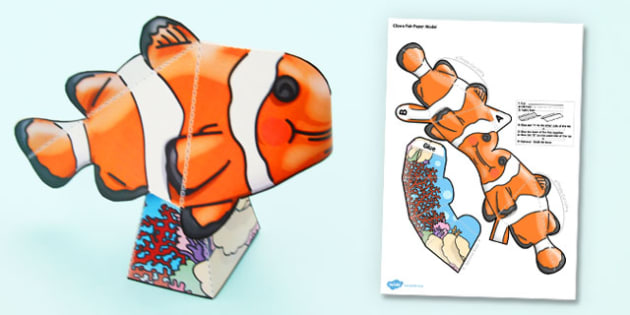 Under the Sea Simple 3D Clown Fish - under the sea, 3d, fish