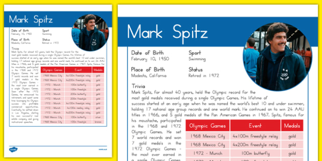 USA Olympians Mark Spitz Fact File