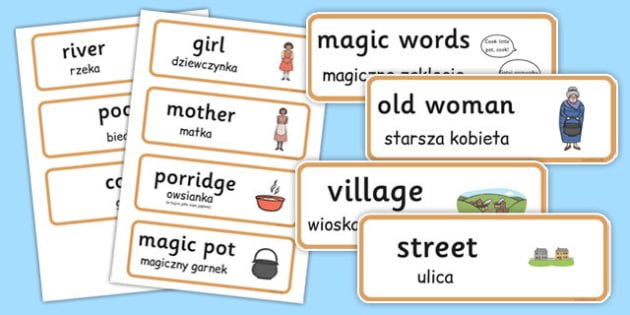 The Magic Porridge Pot Word Cards Polish Translation - polish, magic porridge pot, word cards