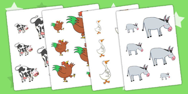 Size Ordering to Support Teaching on Farmyard Hullabaloo - farm, size, order, shapes