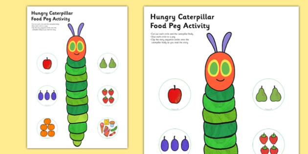 Food Peg Activity to Support Teaching on The Very Hungry Caterpillar - very hungry caterpillar, food, peg, activity
