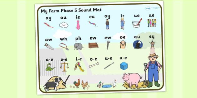 Farm Themed Phase 5 Sound Mat - farm, phase five, sound mat