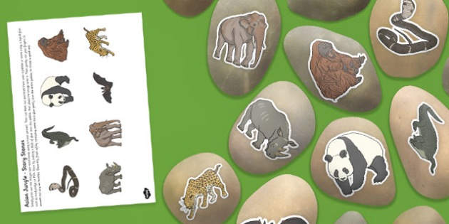 Asian Jungle Themed Story Stone Image Cut Outs - asian, jungle, themed, story stone