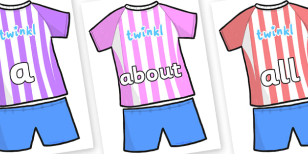 100 High Frequency Words on Football Strip - High frequency words, hfw, DfES Letters and Sounds, Letters and Sounds, display words