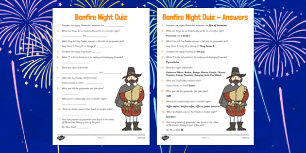 Bonfire Night Quiz Sheet - challenge, game, fun, knowledge, facts, ks1, ks2, fireworks, whole class, groups, information, topic