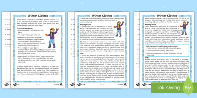 KS1 Winter Clothes Differentiated Reading Comprehension Activity - Winter 2016/17, winter, clothes, cold, freezing, warm, hat, scarf, gloves, coat, material, angora, f