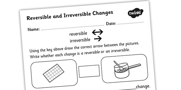 Changing States Reversible Irreversible Changes Activity Sheet - changing state, reversible and irreversible changes, solids liquids and gases, different states