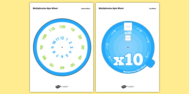 Multiplication Spin Wheel 10 - times tables, multiply, maths