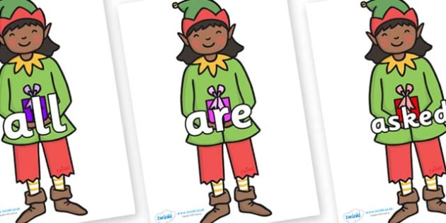 Tricky Words on Elves - Tricky words, DfES Letters and Sounds, Letters and sounds, display, words